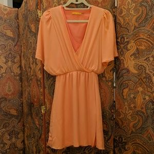 Alice and Olivia Peach Faux Wrap Dress